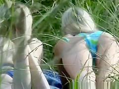Two lesbian blonde having fun