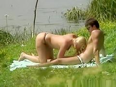 River shore couple fucking