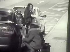 Girls caught peeing in the street sidewalk