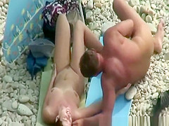 Nudist couple fucking in the shore