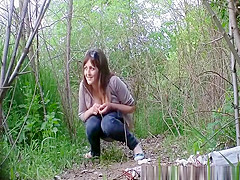 Big tits girl in tight jeans peeing outdoors