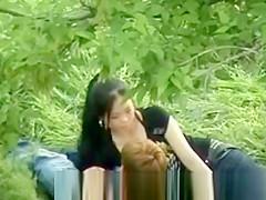 Chinese Girl Sucking Boyfriend in Park