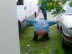 Woman caught pissing in public