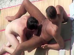Nudist woman sucks cock and fucks