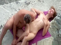 Skinny nudist fucked by husband
