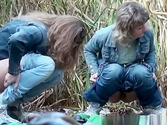 Three women secretly filmed pissing outdoors