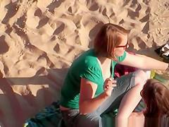 Short hair chick beach down blouse