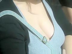 Big natural tits girl big cleavage
