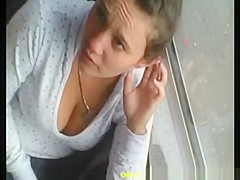 down blouse cleavage on bus