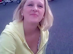 Down blouse on short hair blonde teen