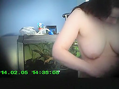 Girlfriend undresses and dries her body