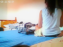 teen caught in her bedroom dressing