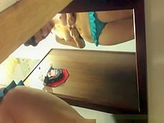 Brunette girl trying new underwear