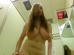 Huge natural big tits girl in change room