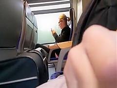 Dude masturbates in train