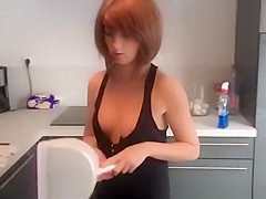 Short hair redhead girlfriend wearing lose clothes
