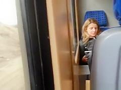 Dude wanks his cock in train
