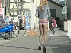 Asian woman no skirt at all
