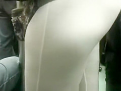 Dude rubs his crotch in woman's ass