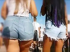 Guy rubs his crotch on long hair teen big ass