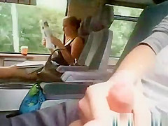 Perverted wank and cums in Train