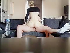 Hot wife rides cock in couch