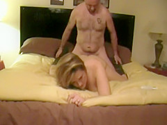 Wife sucks on her husband's dick and she rides him