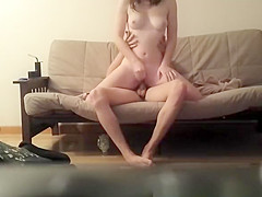 brunette girlfriend fucked in the couch