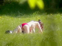 Young couple fuck outdoor