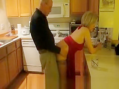 Wife in red dress fucked in kitchen