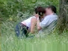 Handjob and blowjob outdoor