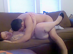 Chubby tattooed chick fucked missionary style in couch
