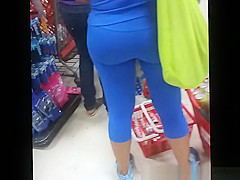 Big tits old lady wearing tight blue sports clothes