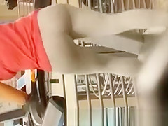 Fatty ass chick walking in gym