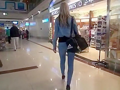 Nice ass blonde in tight jeans pants