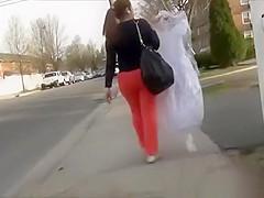 Tight red panties chick walking