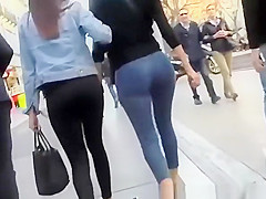 Hot sexy ass chick in tight blue jeans pants