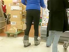 Girl in black leggings checking some meat