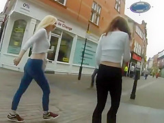 blonde and brunette teens wearing tight pants
