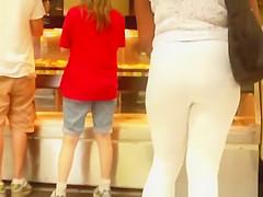 Big ass ebony girl in white leggings