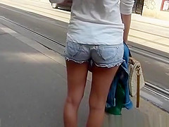 Girl of nice ass in shorts