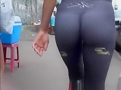 nice asses on two chicks in the street