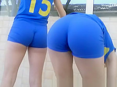 Tight young asses in sport event