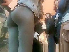 Girls in tight leggings at the mall