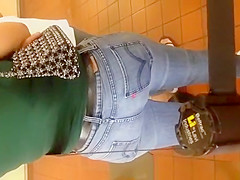 Tight jeans pants woman waiting