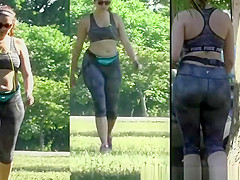 Big ass woman wearing tight sports clothes