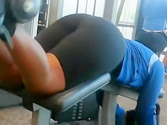 Big ass woman exercising in gym