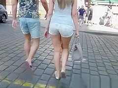 Girl with a bigger butt in sexy shorts