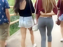 long hair teens in jeans shorts and leggings