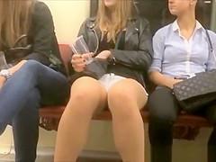 Chick in tight shorts filmed in train